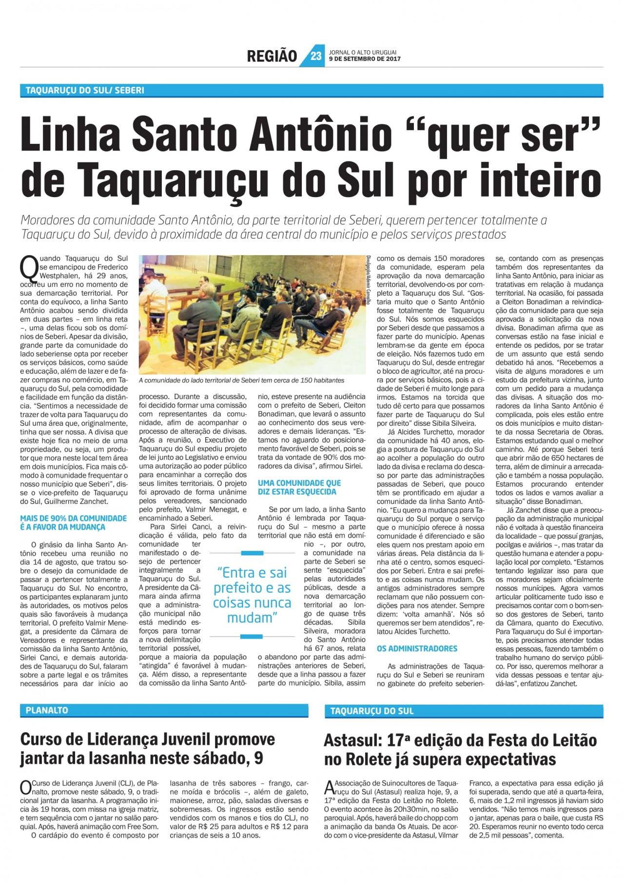 """LINHA SANTO ANTÔNIO  """"QUER SER"""" DE TAQUARUÇU DO SUL POR INTEIRO"""