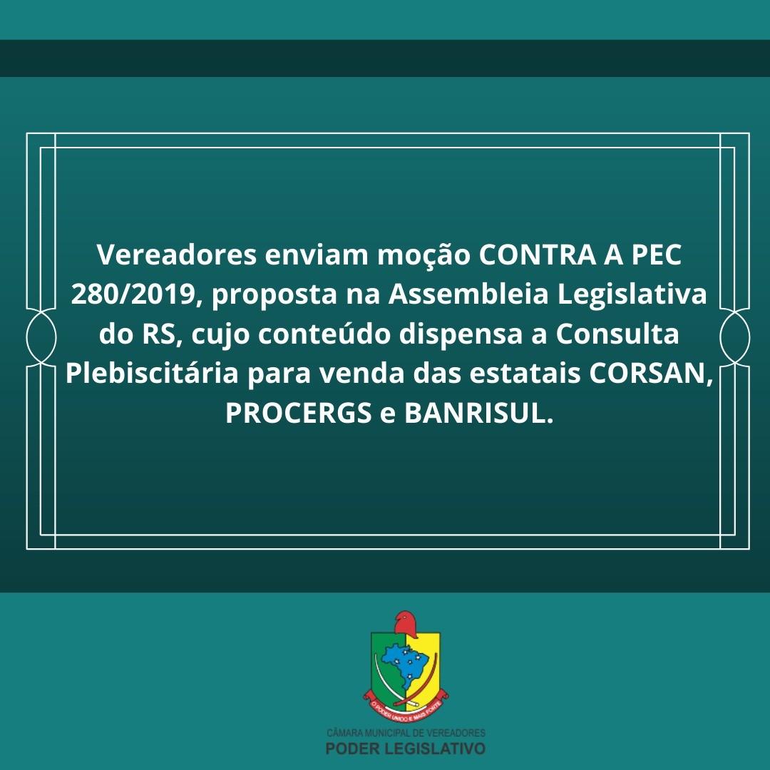 MOÇÃO DE REPÚDIO CONTRA A PEC 280/2019