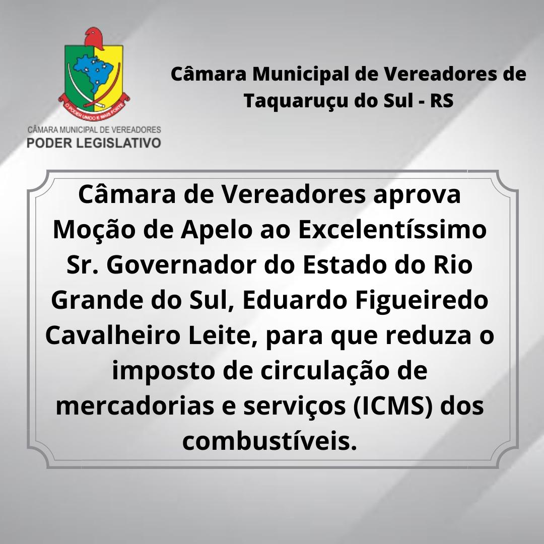 MOÇÃO DE APELO, ao Exmo Senhor Governador, para que reduza o ICMS sobre os combustíveis